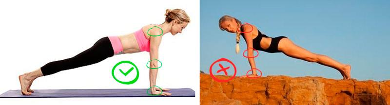 безопасное положение для локтевых суставов в йоге