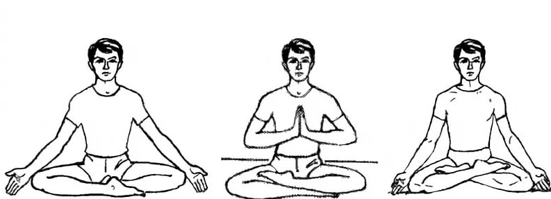 Сукхасана, Ардха Падмасана и Падмасана.